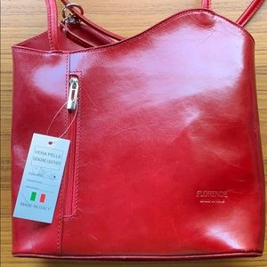 Vera Pelle Italian leather red purse bag